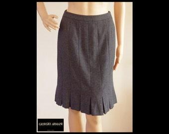 GIORGIO ARMANI Black Label Cashmere/Silk Box Pleat Hem Pencil Skirt~Black with White Dots~Borgo 21~Made in Italy~Retro Classic~Size 38/US 4