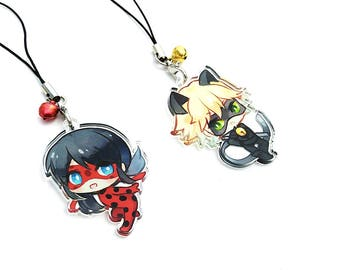 Ladybug, Chat Noir - (Miraculous Ladybug) Hand-Drawn Double Sided Front & Back Acrylic Charms with Phone Strap