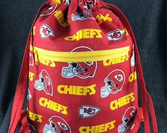 Drawstring Backpack in Kansas City Chiefs Fabric