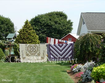 Amish Quilts On The Line Photographic Giclee Print of Amish Quilt Shop Amish Life Wall Decor