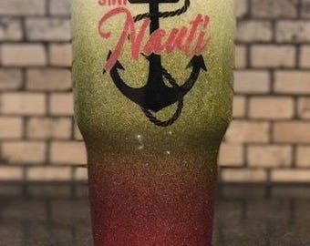 Stay Nauti Personalized Nautical Anchor 3 Color Ombre Fade and Glitter Painted 30 oz tumbler