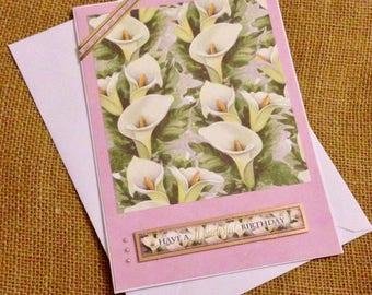 Calla Lillies Birthday Card - Flowers Birthday Card - Women's Birthday Card