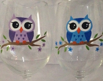 Hand painted owl wine glass
