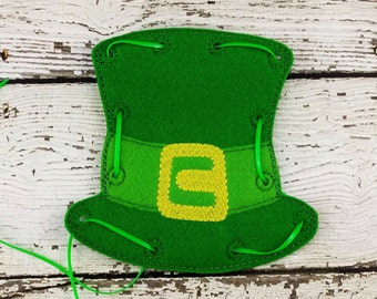 Leprechaun Hat Lacing Card, Quiet Game, Toddler Toy, Travel Toy, Party Favor