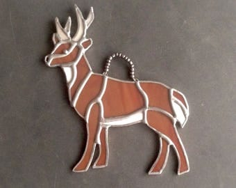 Deer decor, gift husband, deer ornament, antler decor, deer gift, buck decor, deer decoration, deer hunter home decor, stained glass deer