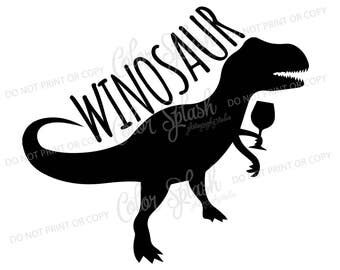 winosaur SVG, DXF, EPS, wine dinosaur clipart, mom drinking wine svg cuttables, clip art, Cricut, Silhouette, Cutting File