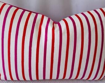 Kravet Design 4098.719 Fairchild Snapdragon Stripe Designer Custom Pillow 14x22 Pink Velvet Back!