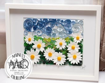 Field of Daisies Quilled Paper Art Landscape