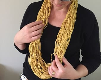 Yellow infinity scarf. Loose knit scarf. Gift for her. Soft warm scarf. Cotton scarf. Mustard yellow. Womens accessory. Knitted scarf. Edgy