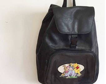 Vintage 90's Embroidered Winnie The Pooh Disney PVC Sponge Leather Drawstring Backpack