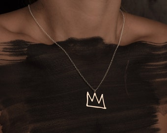 Silver Crown Gold Filled And Silver Necklace King Crown Pendant Sketch Fashion Design Art Jewelry King Basquiat Gift For Her Style Minimal