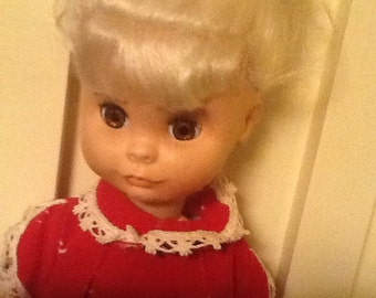 "Vintage, U Need A Doll, 1963, 15"" plastic doll, moveable arms and legs, white hair, open and close eyes"