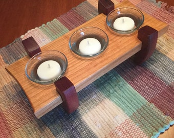 Candle Holder Votive Candles Cherry Purpleheart