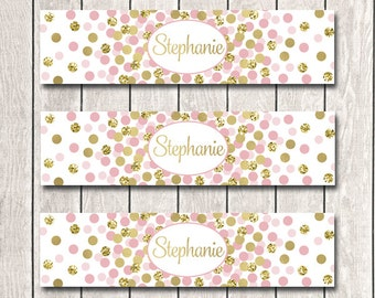 Water Bottle Labels Custom Name Water Bottle Labels Girl Birthday Party Decor Party Supplies Pink And Gold Decorations INSTANT DOWNLOAD