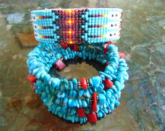 Beautiful Vintage Native American Turquoise, Coral and Beadwork Bracelets