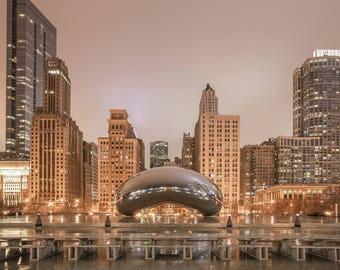 Chicago Bean, Chicago Photography, Cloud Gate on Canvas, Millennium Park Architecture, Chicago Bean Art, Reflections Sculpture, Travel Photo