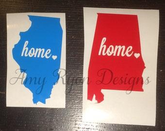 State decals, Home Heart State Decals, Home Sweet Home, Vinyl Decal, State Car Decal, Yeti State Decal, Home Decal