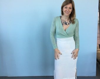 2-Tone Faux Wrap Dress