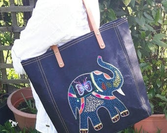 Fair Trade Big tote,bucket bag,denim bag,hand embroidered elephant motif,carry all bag,ethnic,everyday bag with vegan leather straps