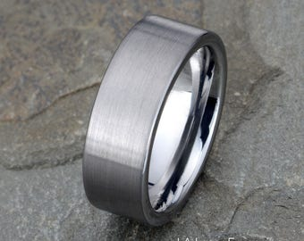 Tungsten Wedding Band, Mens Brushed tungsten Band, 8mm, Free Laser Engraving, His,Hers, Ring, Anniversary Ring, Mens Tungsten Ring,