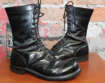 Vintage 1980's CORCORAN Men's Military Paratrooper Jump Boots Black Leather Cap Toe Size 9 E--Made in the USA