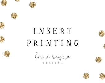 Matching Insert Printing