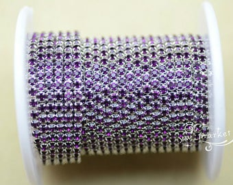 10 yard ss12 colour rhinestone close trim chain deep purple