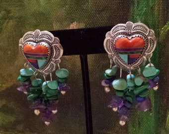 Sterling silver native American inlaid heart earrings
