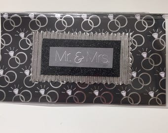 Mr & Mrs Wedding Rings Black Silver - Vinyl Checkbook cover,Scrapbook style,Duplicate or Single Checks, No wait Ready to Ship