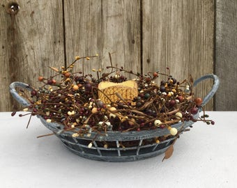 Wire Tray with Grapevine and Pip Berry Candle Ring -Weathered Zinc Tray Centerpiece-Primitive Decor-Primitive Centerpiece-Free Shipping