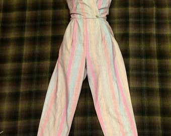 1980's Grey Striped Jumpsuit