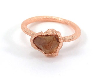 Citrine Ring, Raw Stone Ring, Healing Crystal Ring, Raw Gemstone, Orange, November Birthstone, Electroformed, Copper Ring, Solitaire Ring