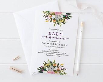 Baby Shower Invitation, Baby Shower Invitation Template, Invitation Printable, Girl Baby Shower Invite, DIY, PDF Instant Download #BPB328_1