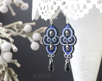 Statement Earrings From Polymer Clay With Swarovski Elements, Fake Soutache