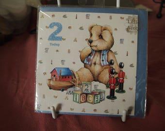 Boy's 2 Today Birthday Card with Teddy, Soliders, Boy