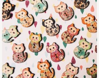 Cat Button Pin / Brooch