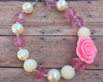 Pink and Ivory - Necklace - Spring necklace - Chunky necklace - Bubblegum Necklace - Toddler necklace - Pink necklace - Flower girl necklace