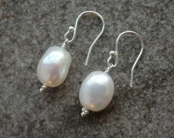Silver Pearl Earrings, Pearl Earrings, Pearl Drops, Pearl Jewellery, White Pearls, Freshwater Pearls