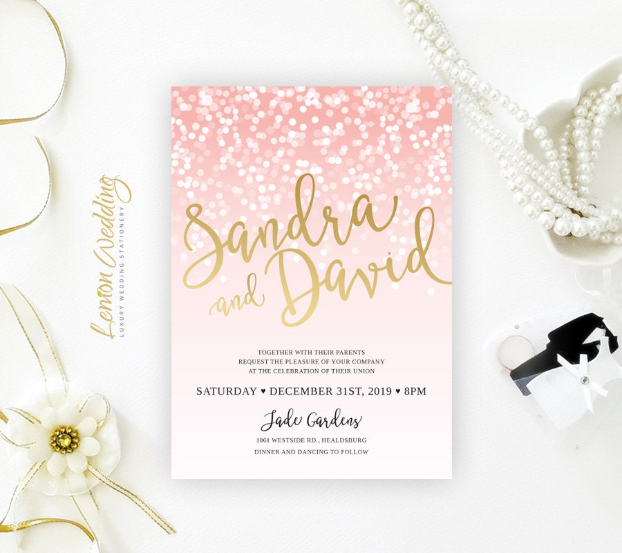 Blush pink and gold wedding invitations printed glitter for Inexpensive glitter wedding invitations