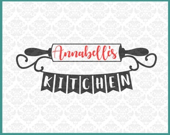 Rolling Pin svg, Kitchen Monogram svg, Kitchen Name Frame Svg, Kitchen svg, Kitchen Decor Svg, Kitchen Last name svg, Cricut, Silhouette