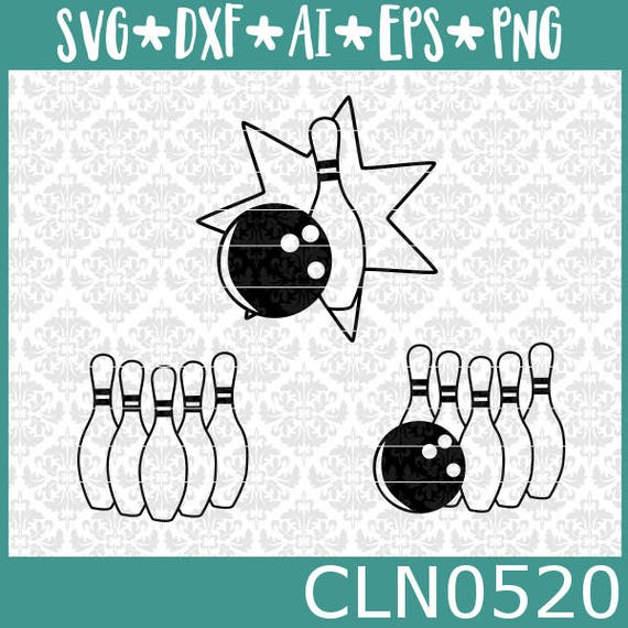 CLN0520 Bowling Bowler Bowl League Spare Strike Turkey Pins Ball SVG DXF Ai Eps PNG Instant Download Commercial Cut File Cricut Silhouette
