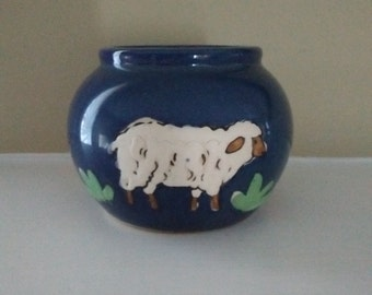 Japanese Pottery Vase with Handpainted Lamb, CMC Japanese Pottery Blue Vase