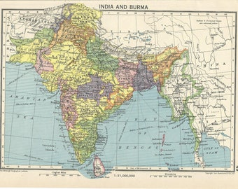 1940s  map  of  india and burma   antique map vitage wqll decor