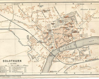 1911 map solothurn switzerland antique map  vintage wall decor.