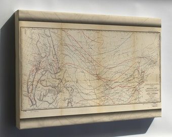 Canvas 24x36; Isothermal Map Of United States & Canada 1859