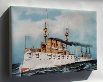 Canvas 16x24; Armored Steel Cruiser New York, 1893 Currier And Ives
