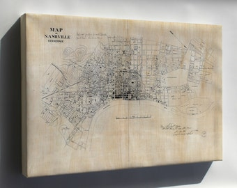 Canvas 16x24; Map Of Nashville, Tennessee 1860