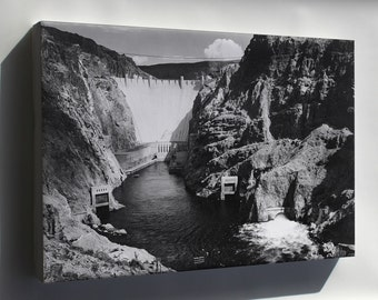 Canvas 16x24; Boulder Dam From Across The Colorado River By Ansel Adams C1941
