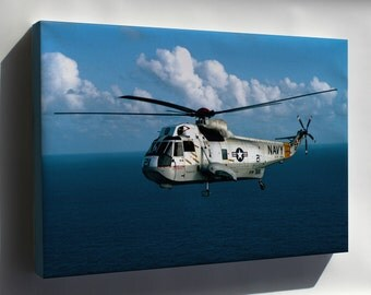 Canvas 16x24; U.S. Navy Sikorsky Sh-3G Sea King Helicopter 1983