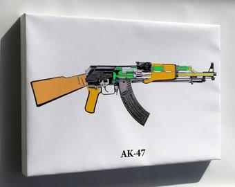 Canvas 16x24; Ak-47 Schematic